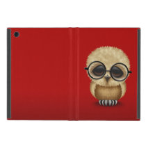 Cute Brown Baby Owl Wearing Glasses on Red Cases For iPad Mini