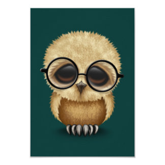 Cute Brown Baby Owl Wearing Glasses on Teal Blue Card