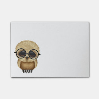 Cute Brown Baby Owl Wearing Glasses Post-it Notes