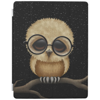 Cute Brown Baby Owl Wearing Glasses with Stars iPad Smart Cover