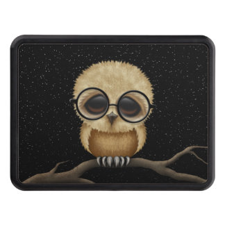 Cute Brown Baby Owl Wearing Glasses with Stars Tow Hitch Cover