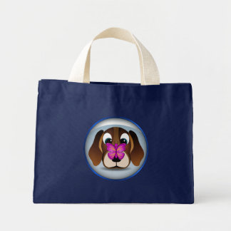 Cute Brown Beagle Puppy Dog and Butterfly Budget Mini Tote Bag