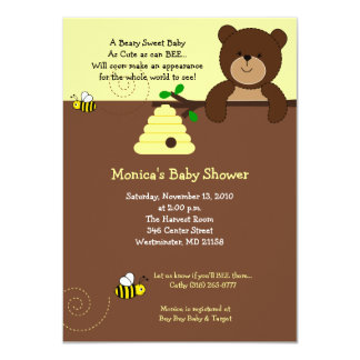 Cute Brown Bear and Honey Bee Baby Shower 4x6 4.5x6.25 Paper Invitation Card
