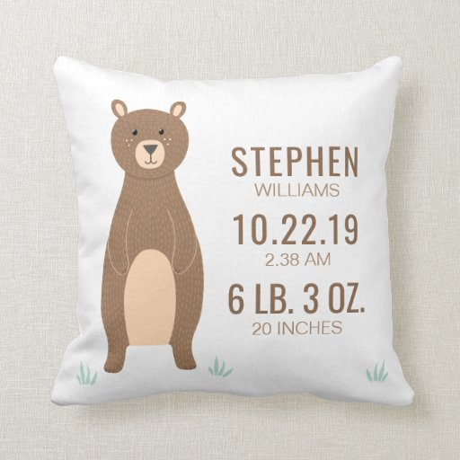 Cute Neutral Throw Pillows : Personalized Woodland Baby Stats Pillows - Let s Personalize That