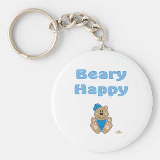 Cute Brown Bear Blue Baseball Cap Beary Happy Keychain