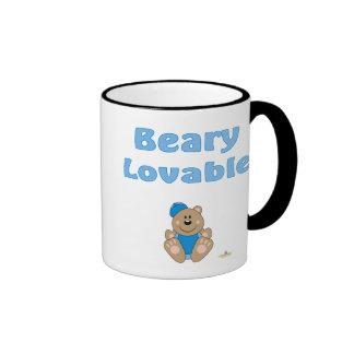Cute Brown Bear Blue Baseball Cap Beary Lovable Ringer Mug