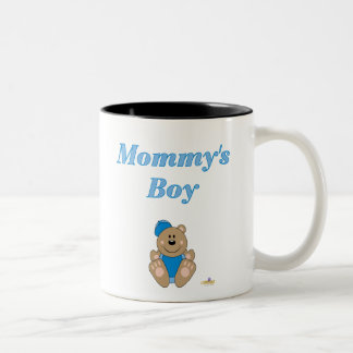 Cute Brown Bear Blue Baseball Cap Mommy's Boy Two-Tone Coffee Mug