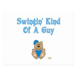 Cute Brown Bear Blue Baseball Cap Swingin' Kind Of Post Card