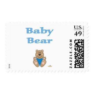 Cute Brown Bear Blue Bib Baby Bear Postage