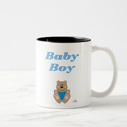Cute Brown Bear Blue Bib Baby Boy Mugs