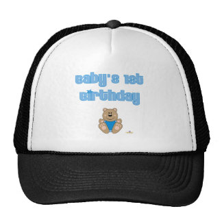 Cute Brown Bear Blue Bib Baby's 1st Birthday Trucker Hats