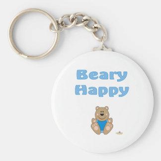 Cute Brown Bear Blue Bib Beary Happy Keychains