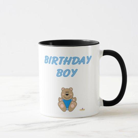 Cute Brown Bear Blue Bib Birthday Boy Mug
