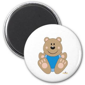 Cute Brown Bear Blue Bib Refrigerator Magnets