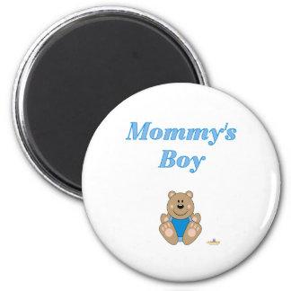 Cute Brown Bear Blue Bib Mommy's Boy Magnets