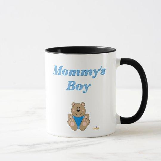 Cute Brown Bear Blue Bib Mommy's Boy Mug