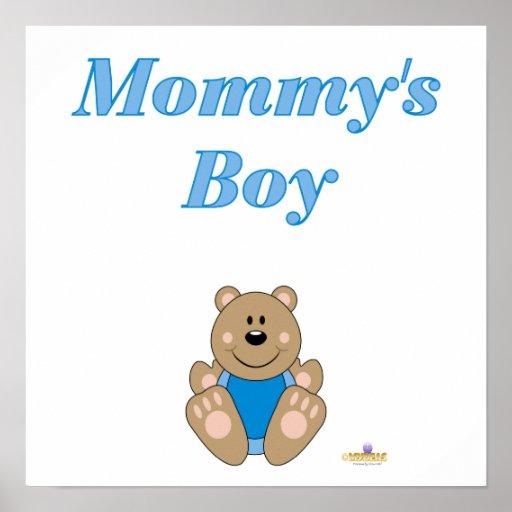 Cute Brown Bear Blue Bib Mommy's Boy Posters
