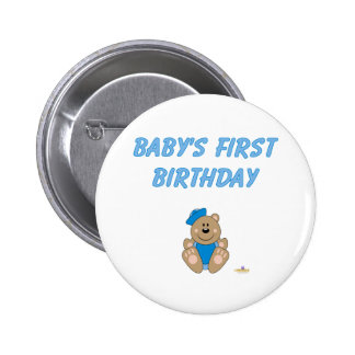 Cute Brown Bear Blue Sailor Hat Baby's First Birth Pinback Buttons