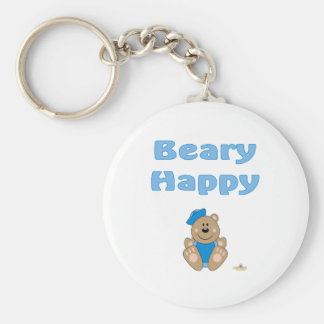 Cute Brown Bear Blue Sailor Hat Beary Happy Keychains