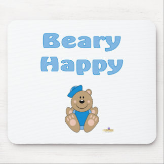 Cute Brown Bear Blue Sailor Hat Beary Happy Mouse Pad