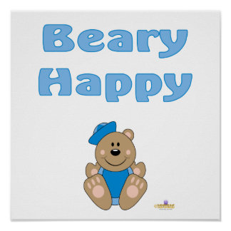 Cute Brown Bear Blue Sailor Hat Beary Happy Poster