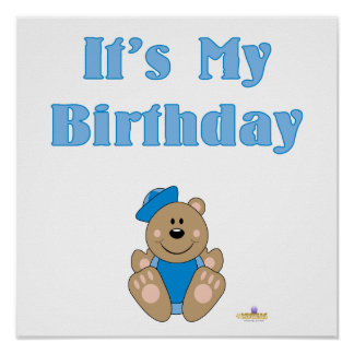 Cute Brown Bear Blue Sailor Hat It's My Birthday Poster