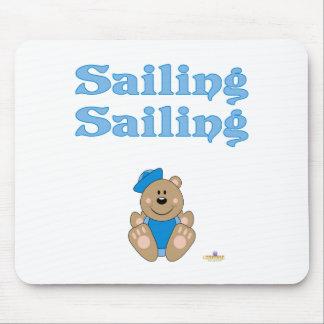 Cute Brown Bear Blue Sailor Hat Sailing Sailing Mouse Pad