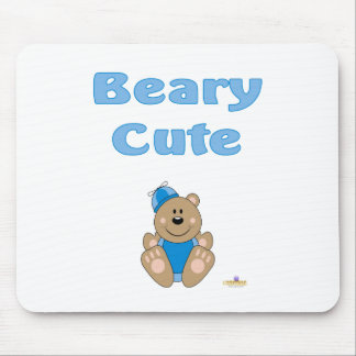 Cute Brown Bear Blue Silly Hat Beary Cute Mouse Pad