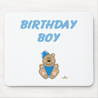 Cute Brown Bear Blue Silly Hat Birthday Boy Mouse Pad