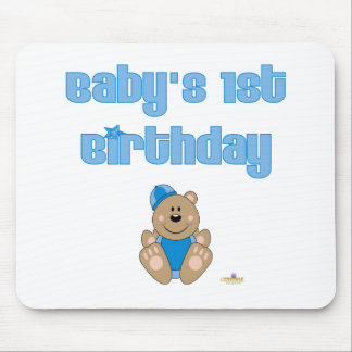 Cute Brown Bear Blue Snow Hat Baby's 1st Birthday Mouse Pad