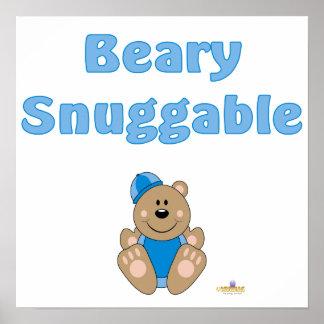 Cute Brown Bear Blue Snow Hat Beary Snuggable Print