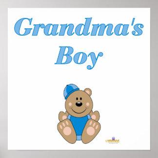 Cute Brown Bear Blue Snow Hat Grandma's Boy Poster