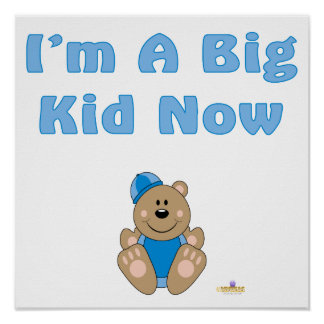 Cute Brown Bear Blue Snow Hat I'm A Big Kid Now Posters