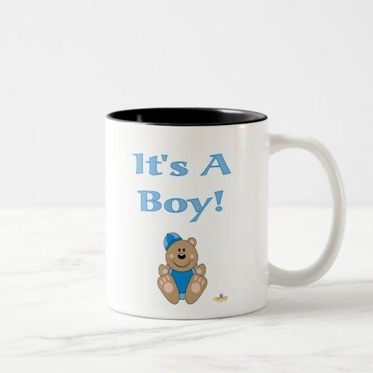 Cute Brown Bear Blue Snow Hat It's A Boy Two-Tone Coffee Mug
