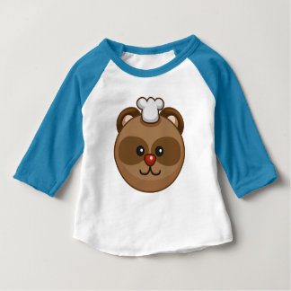 Cute Brown Bear Cartoon Blue Custom Baby Baby T-Shirt