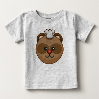 Cute Brown Bear Cartoon Grey Customizable Baby Baby T-Shirt