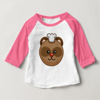 Cute Brown Bear Cartoon Pink Custom Baby Baby T-Shirt