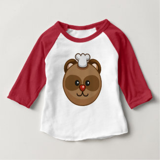 Cute Brown Bear Cartoon Red Custom Baby Baby T-Shirt