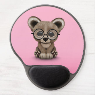 Cute Brown Bear Cub with Eye Glasses on Pink Gel Mouse Pad