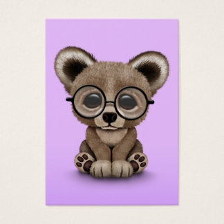 Cute Brown Bear Cub with Eye Glasses on Purple Business Card