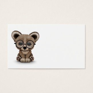 Cute Brown Bear Cub with Eye Glasses on White Business Card