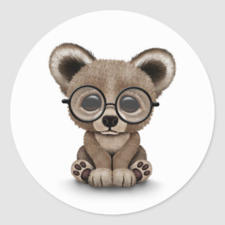 Cute Brown Bear Cub with Eye Glasses on White Classic Round Sticker