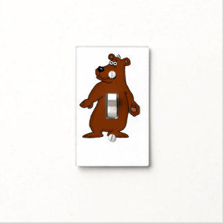 Cute brown bear design light switch covers