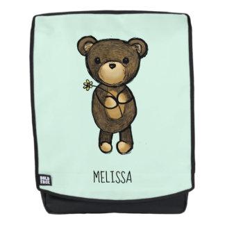 Cute Brown Bear Holding a Yellow Flower Custom Backpack