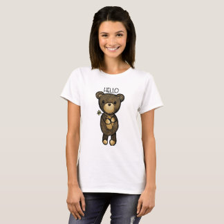 Cute Brown Bear Holding a Yellow Flower T-Shirt