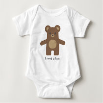 Cute Brown Bear Hug Baby Bodysuit