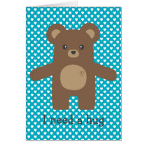 Cute Brown Bear Hug Card