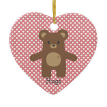 Cute Brown Bear Hug Ceramic Ornament