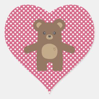 Cute Brown Bear Hug Heart Sticker