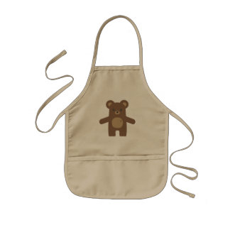 Cute Brown Bear Hug Kids' Apron